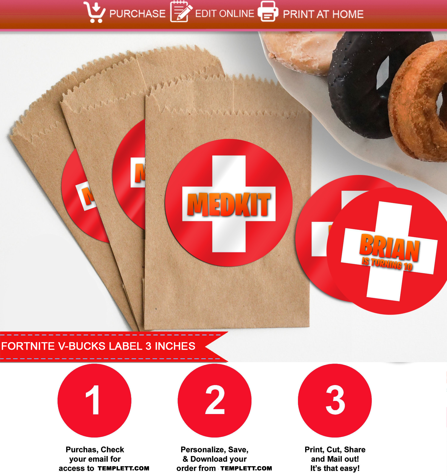Fortnite Medkit Label Template 3 Inches Print Party